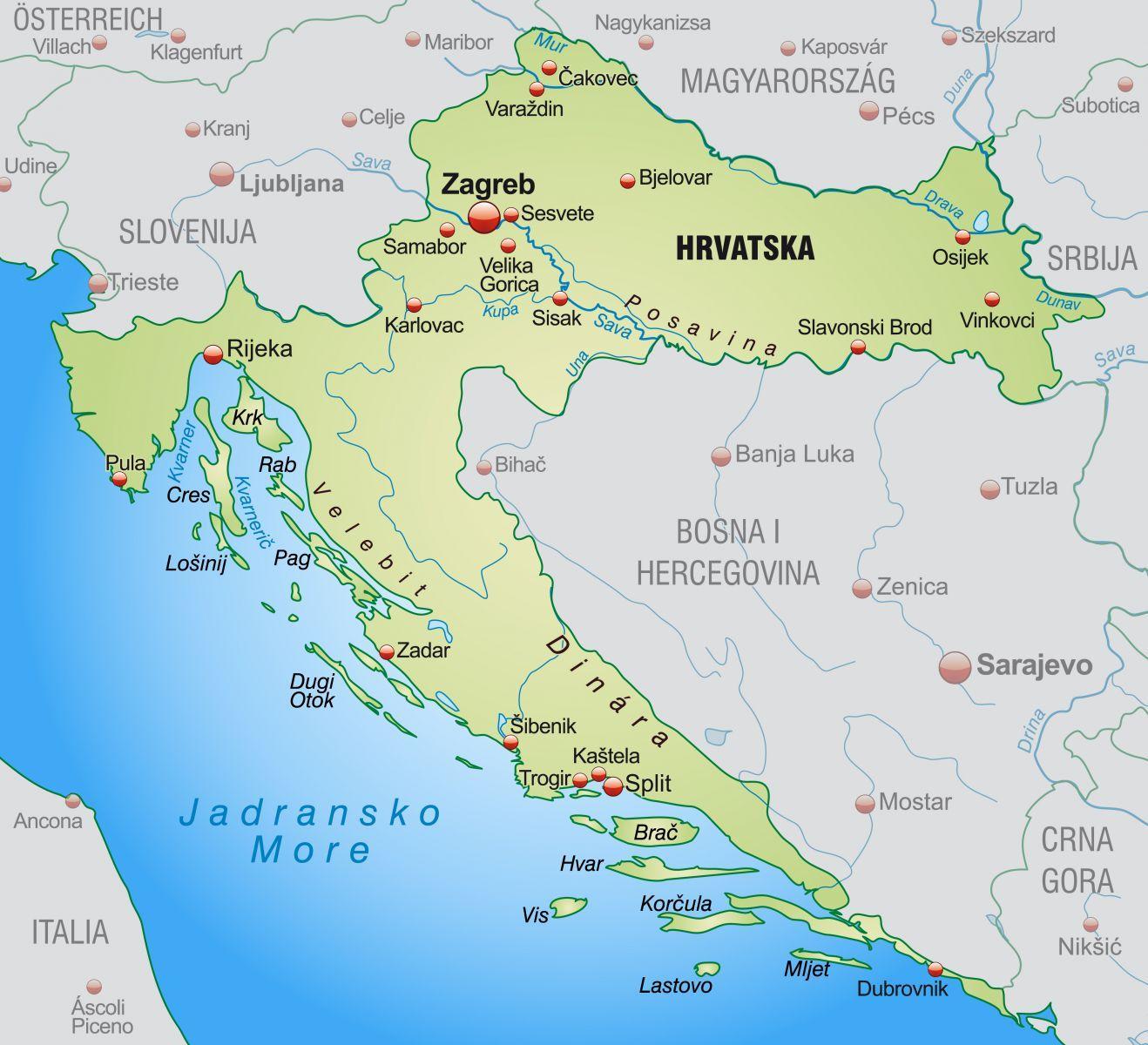 North Croatia Map Northern Croatia Map Southern Europe Europe