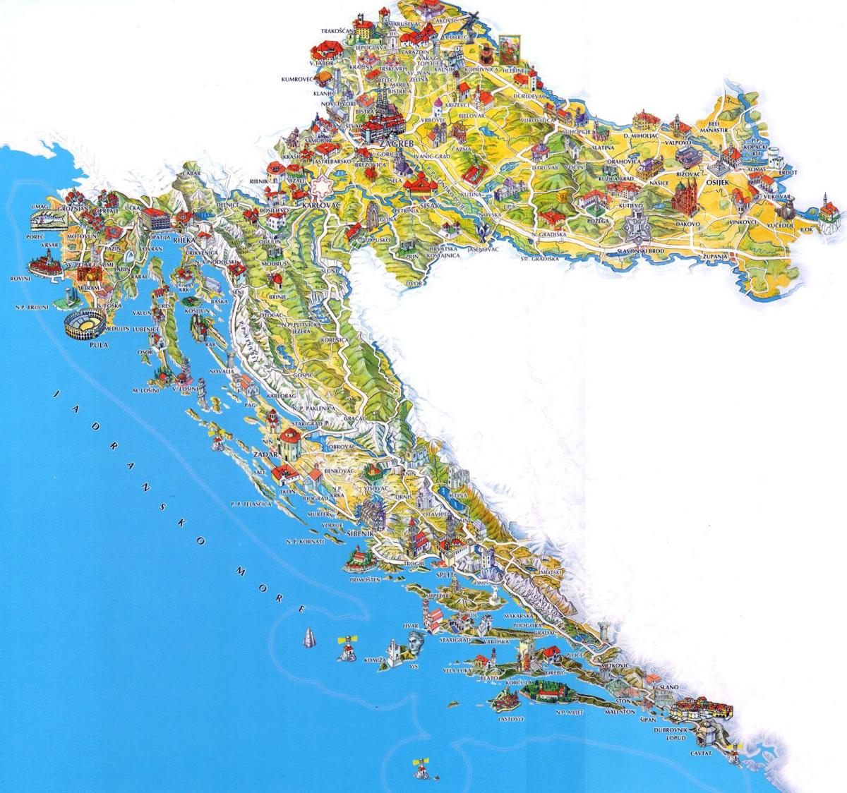 croatia tourist attractions map